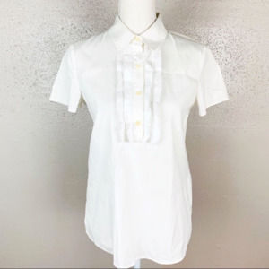 Theory White Ruffle Short Sleeves Top Medium